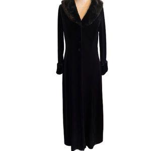 Angel Faux Velvet Long Blazer w/faux fur trim